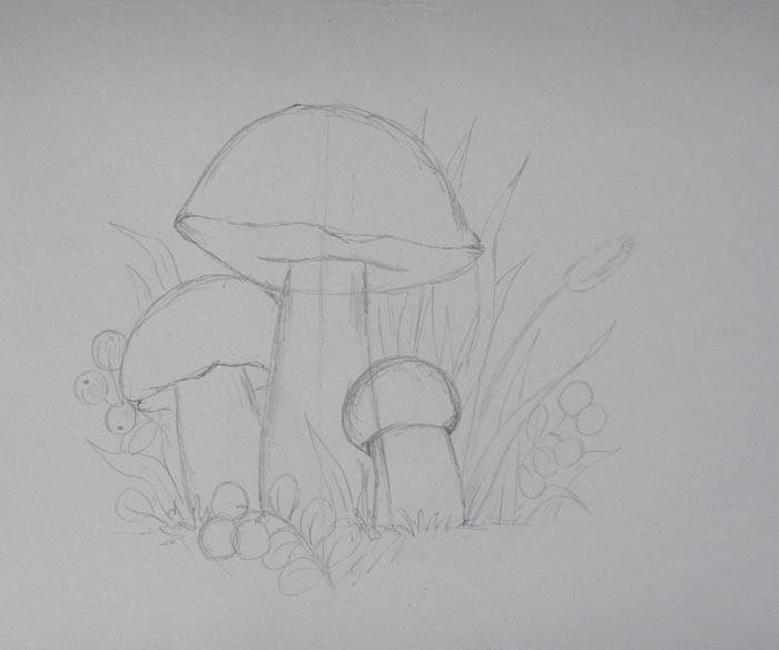 Вокруг грибов изобразите траву и ягоды брусники