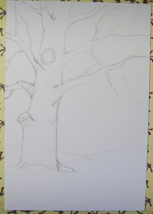 Обозначьте сугробы и нарисуте контуры дуба и его веток