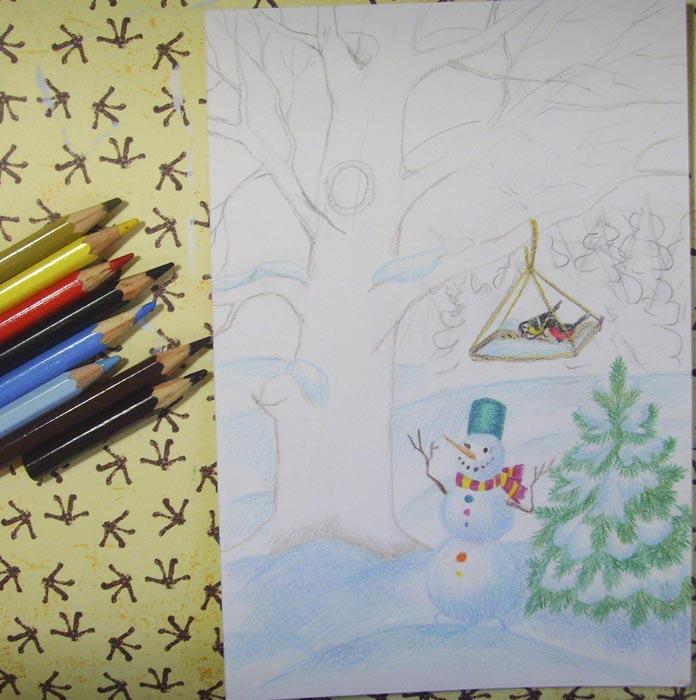 Сотрите карандашные линии и раскрасьте снег и контуры дерева
