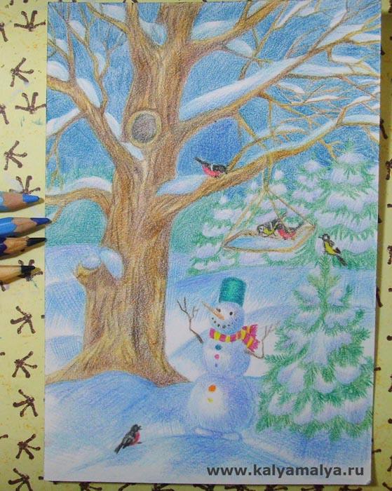 Закрасьте небо и углубите тени на снеговике и сугробах