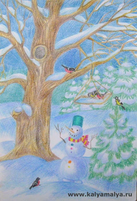 Как нарисовать зимний пейзаж цветными карандашами?