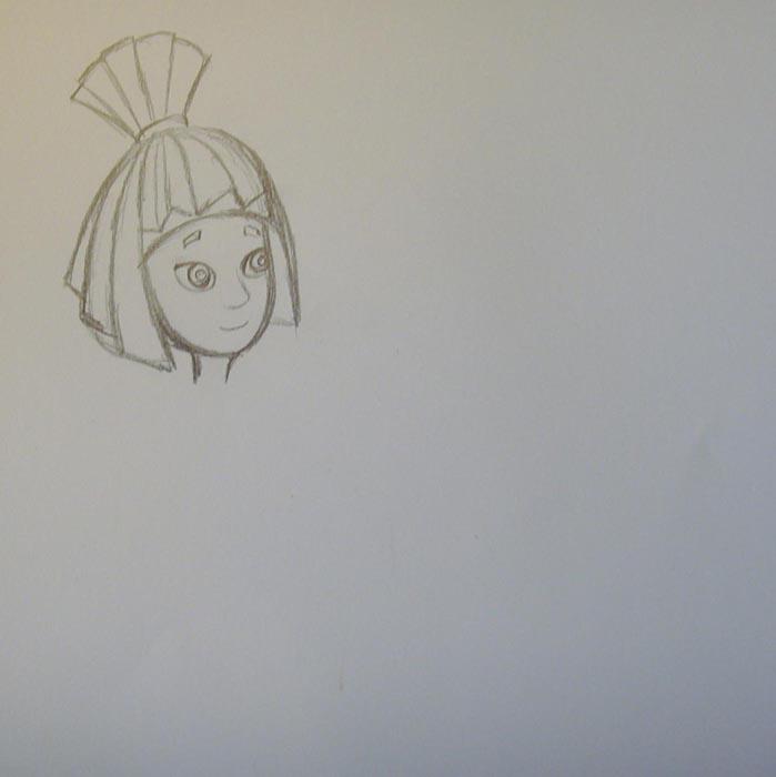 Более четко прорисуйте прическу, а также изобразите на ее лице крупные глаза, нос, рот и брови