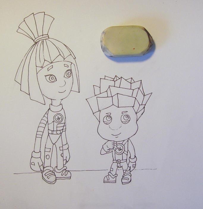 Обрисуйте все контуры ручкой, а затем удалите ластиком первоначальный набросок