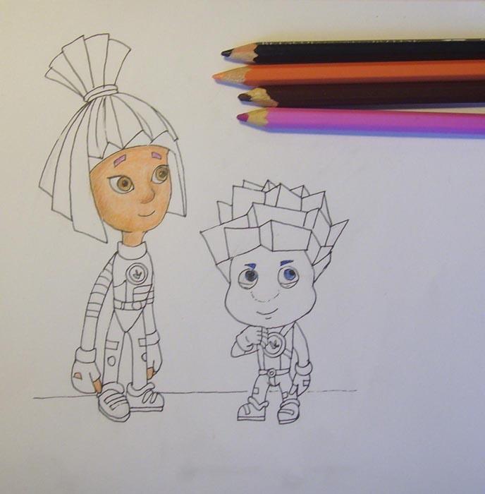 Раскрасьте лицо и глаза Симки, выбирая карандаши соответствующих оттенков. Глаза и брови Нолика заштрихуйте синим цветом