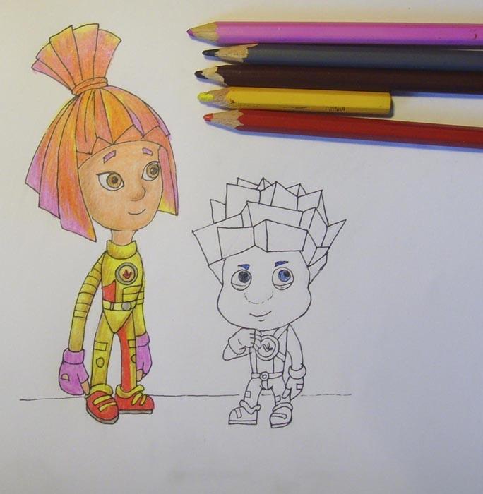 Закрасьте костюм персонажа