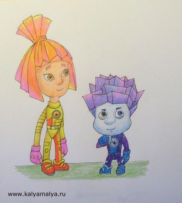 Как нарисовать фиксиков Симку и Нолика?
