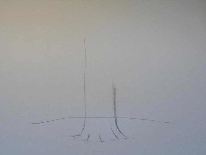 Начертите линию горизонта, а затем обозначьте легкими штрихами толстый ствол