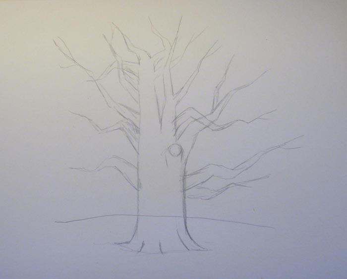 Нарисуйте отдельные ветки дерева. Старайтесь делать их не идеально прямыми, а изогнутыми, пересекающимися друг с другом