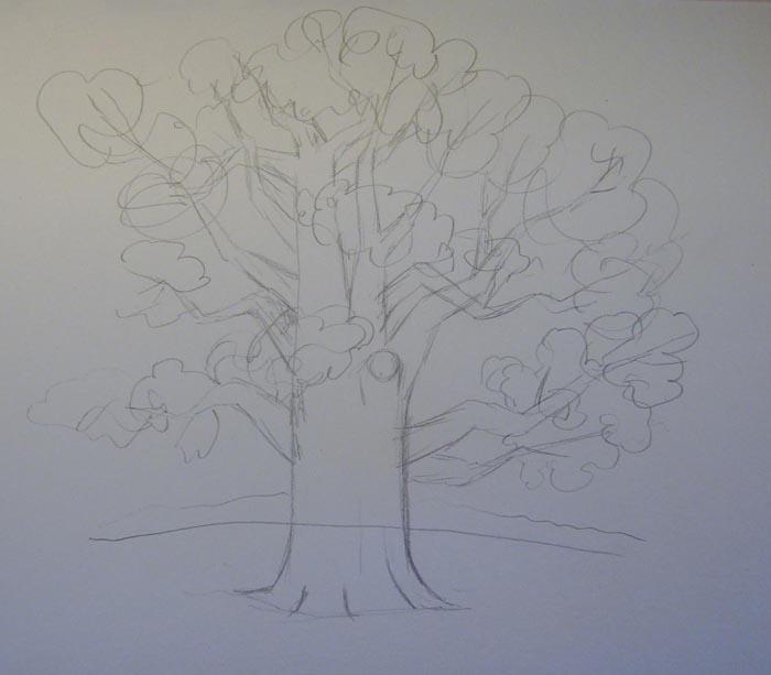 Схематично изобразите листву, а также очертания леса на заднем плане