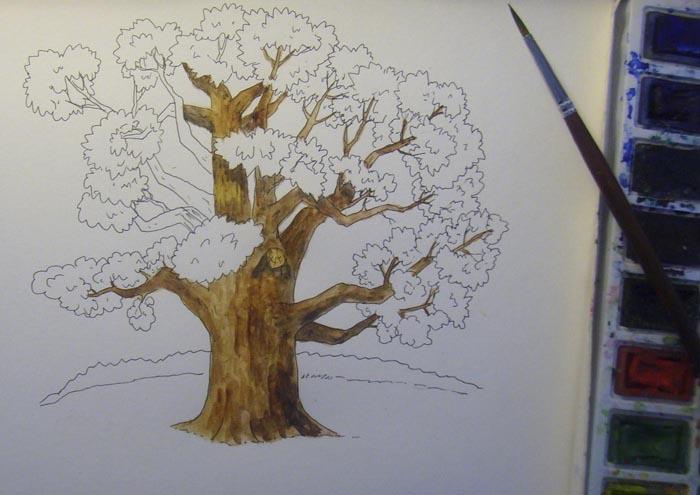 Красками коричневых оттенков начните раскрашивать дуб, делая короткие мазки