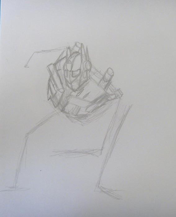 Изобразите мелкие детали на теле трансформера