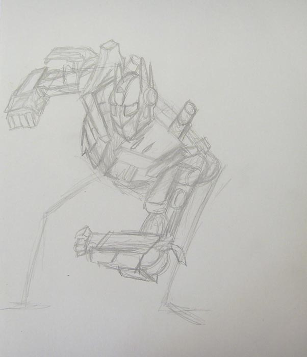 Затем изобразите левую руку трансформера