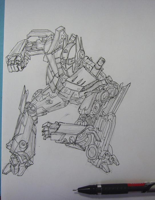 Обведите контуры рисунка ручкой, а затем ластиком удалите карандашный набросок