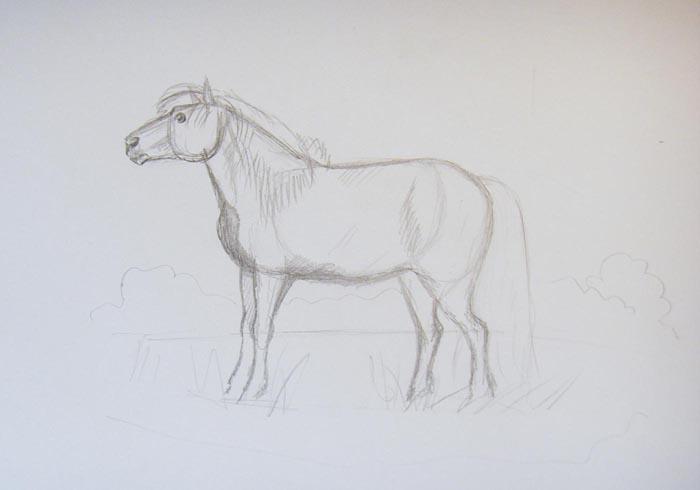 Нарисуйте глаз и ноздрю коня. Тонкими линиями наметьте очертания окружающего пейзажа