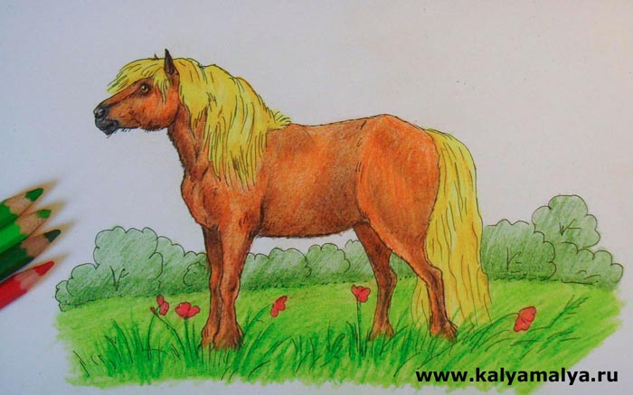 Цветы закрасьте красным, а траву и деревья на заднем плане – различными оттенками зеленого