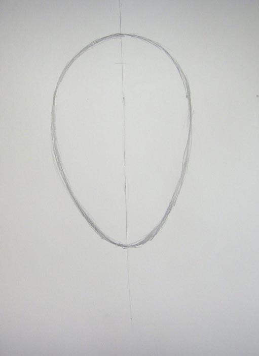 Начертите вертикальную линию и очертания головы