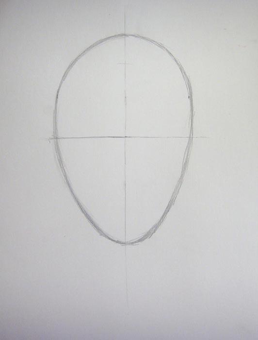 Разделите овал на четыре равные части, прочертив горизонтальную линию
