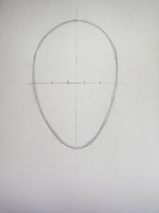 Разделите горизонтальную линию на пять примерно одинаковых отрезков