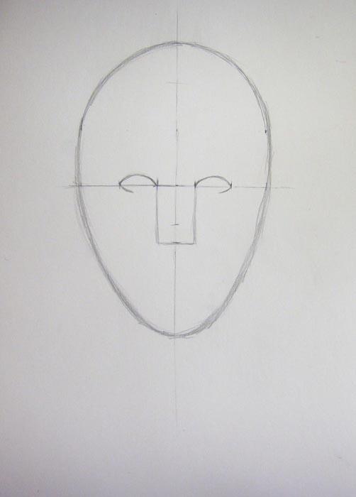 Отметьте то место на лице, где будет располагаться кончик носа