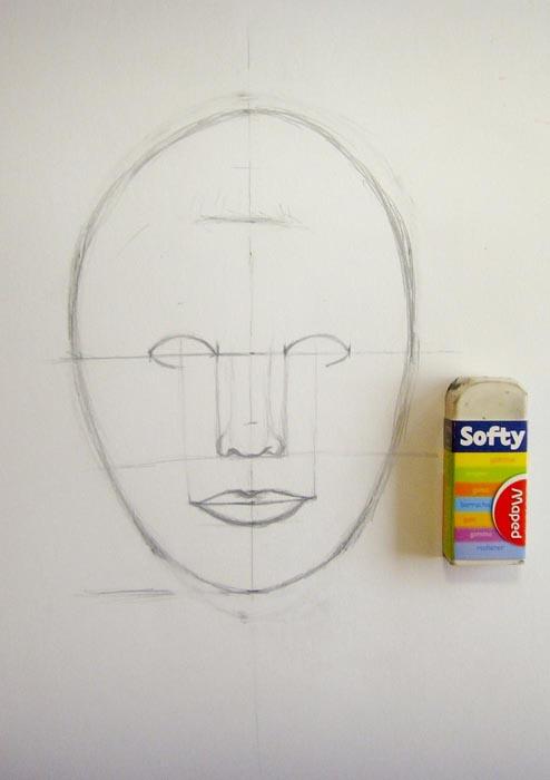 Откорректируете овал лица и сотрите лишние карандашные линии