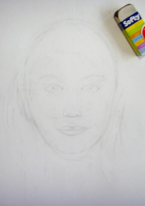 Ластиком аккуратно удалите жирные карандашные линии