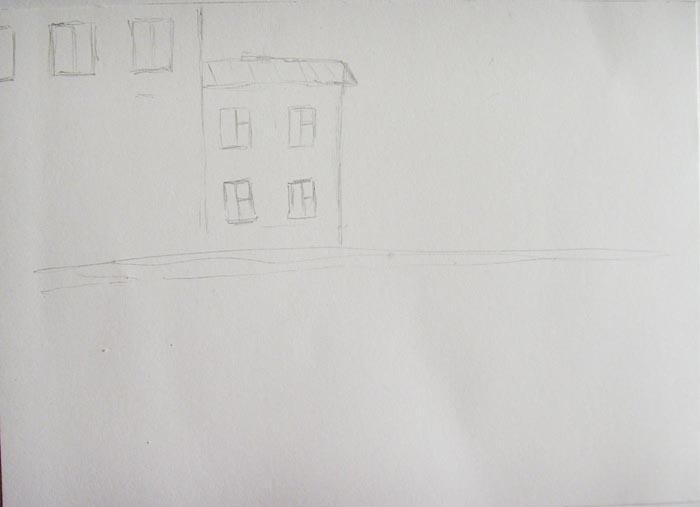 Карандашом обозначьте линию горизонта и очертания домов на заднем плане