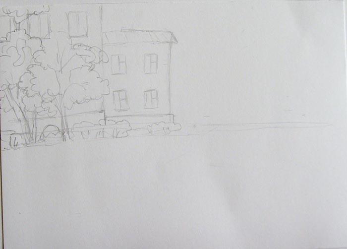 Более детально прорисуйте дома, а затем изобразите деревья и кустарники, растущие около них