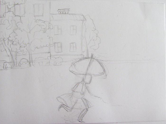 Простыми линиями набросайте фигуру бегущей девочки с зонтиком в руках