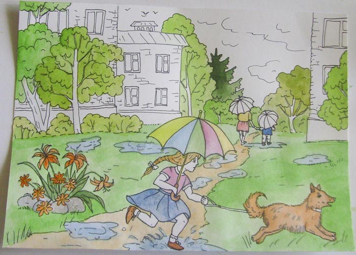 Закрасьте одежду девочки, зонтик, собаку и деревья