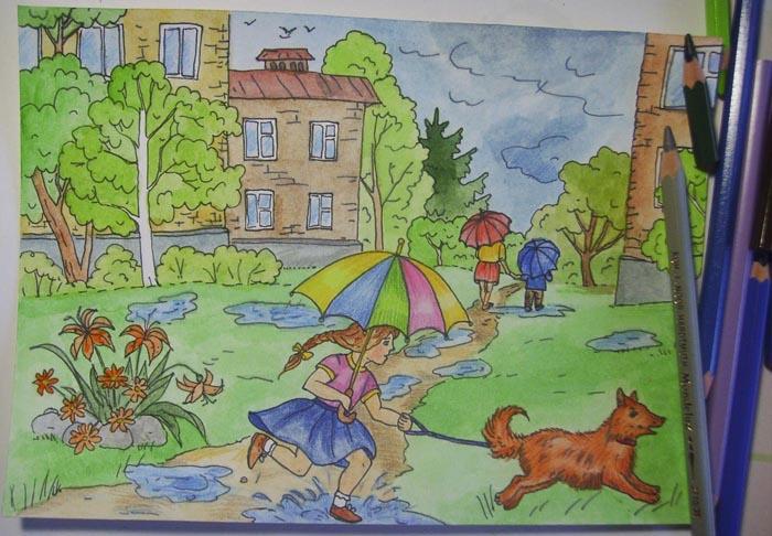 Прокрасьте одежду и зонтики людей, собаку и клумбу акварельными карандашами