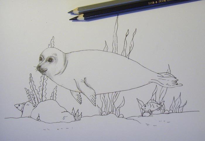 Черным карандашом закрасьте глаза и ноздри животного. Серым цветом обозначьте тени на голове и шее