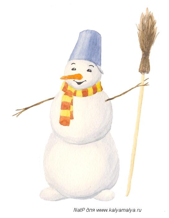 Учимся рисовать. Снеговик