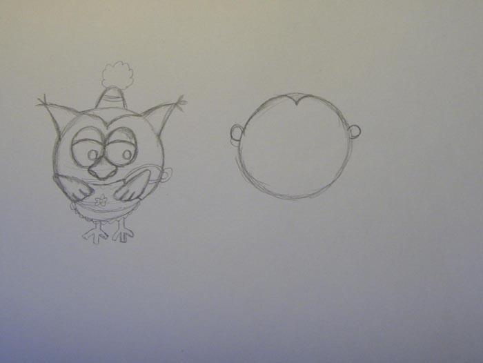 Рядом нарисуйте круг — это Ежик. Пририсуйте к нему ушки и маленький треугольничек на его голове