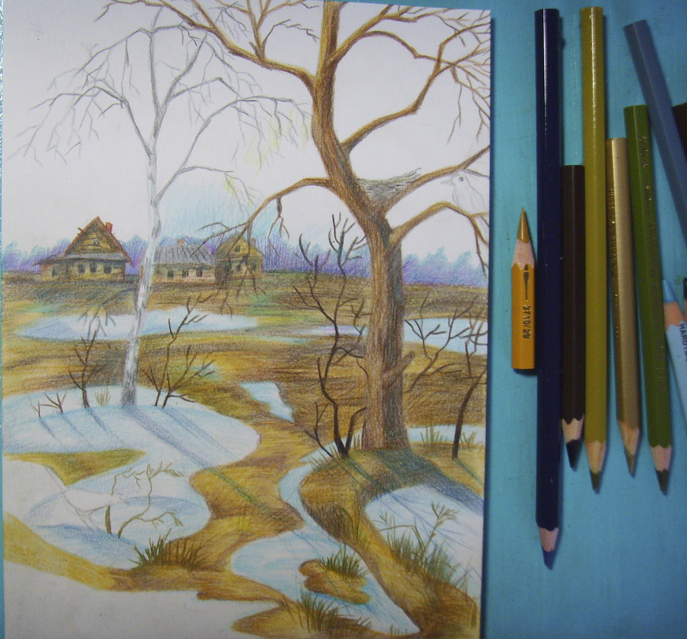 схема рисования пейзажа зимой для ребенка