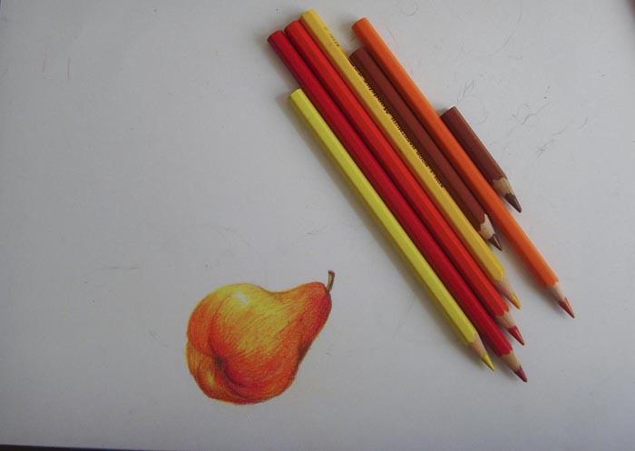 Ластиком слегка сотрите карандашный набросок так, чтобы остались лишь легкие линии. Раскрасьте грушу, постепенно накладывая на нее штрихи желтых, оранжевых, красных и красно-коричневых оттенков