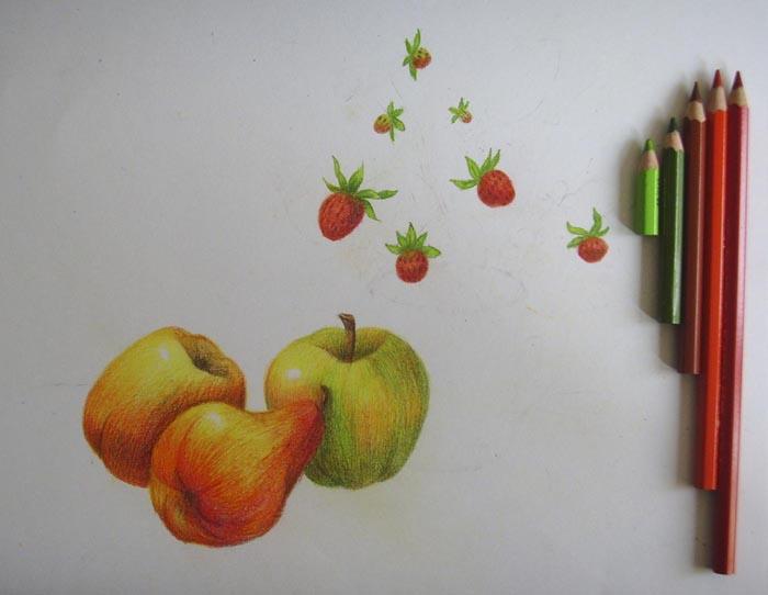 Сделайте цвет ягод более насыщенным, а затем изобразите листочки