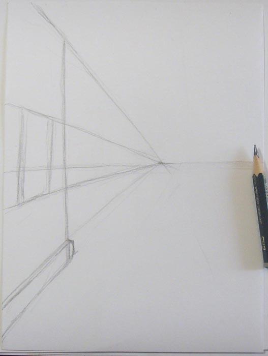 Нарисуйте линию горизонта, отметьте точку схода и наметьте очертания дома