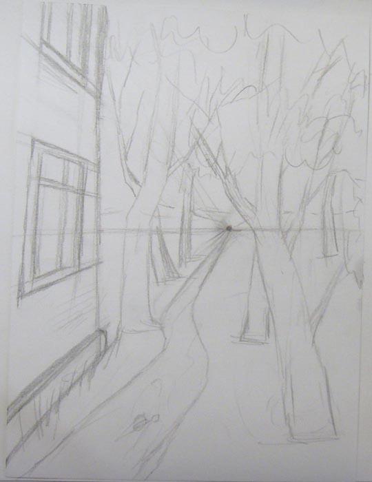 Детально прорисуйте стволы деревьев, ветки и листву