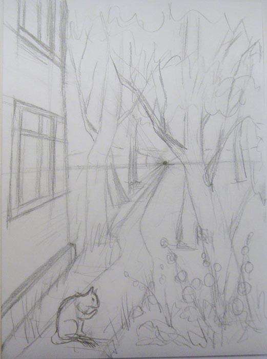 На переднем плане изобразите сидящую кошку и цветущую мальву
