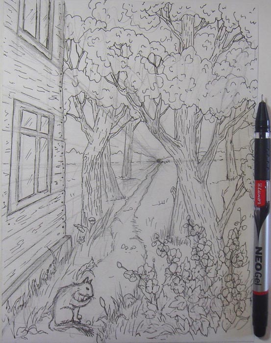 Аккуратно обведите карандашные контуры ручкой