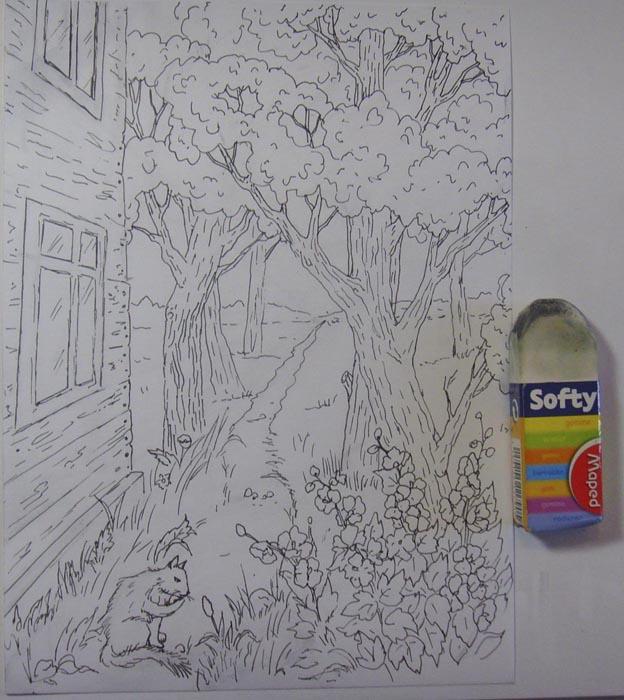 Ластиком сотрите карандашный рисунок