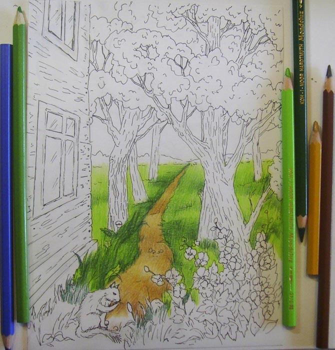 Закрасьте тропинку и траву, тени сделайте более темными