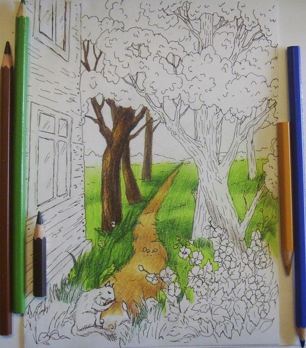 Начните раскрашивать стволы деревьев