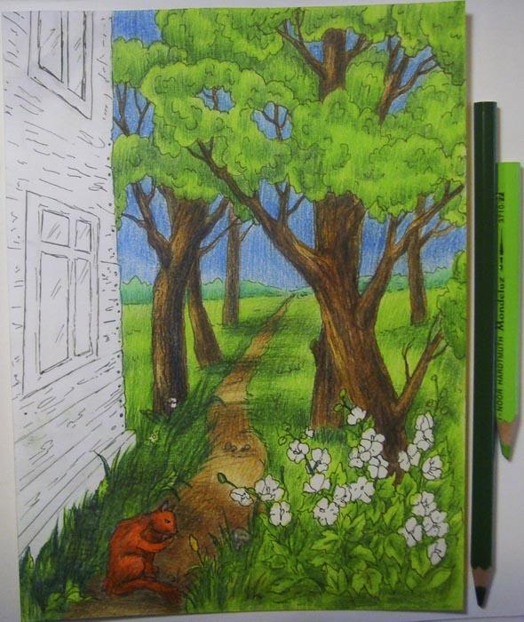 Раскрасьте листву и небо