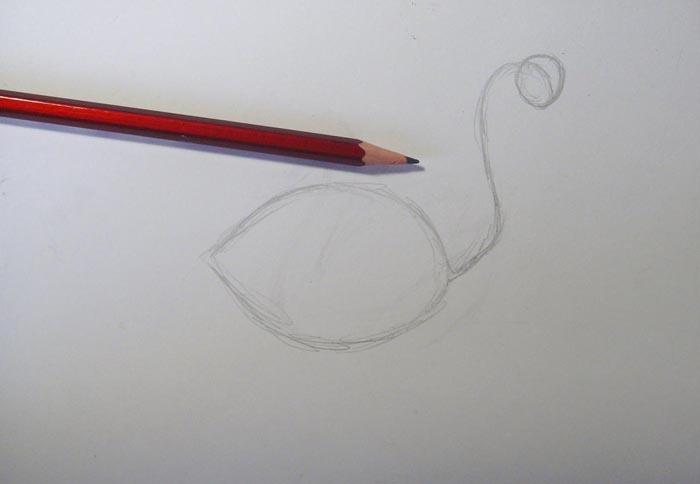 Нарисуйте очертания тела птицы, наметьте линию ее шеи, изобразите голову лебедя