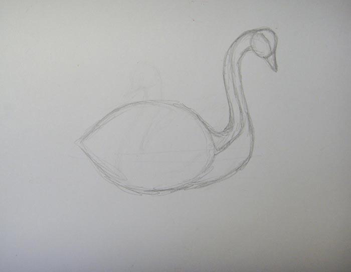 Прорисуйте шею, голову и клюв птицы