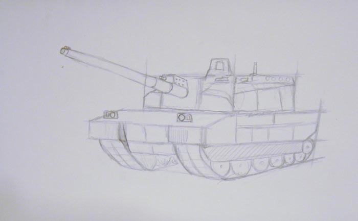 Нарисуйте мелкие детали, а потом пририсуйте пушку