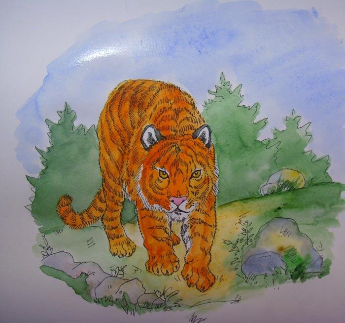 Для глаз зверя используйте желтую краску с добавлением оранжевого, а для носа – розовую краску
