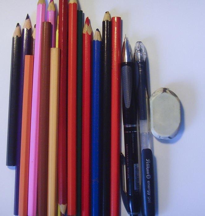 Приготовьте инструменты, караддаши и чёрную ручку