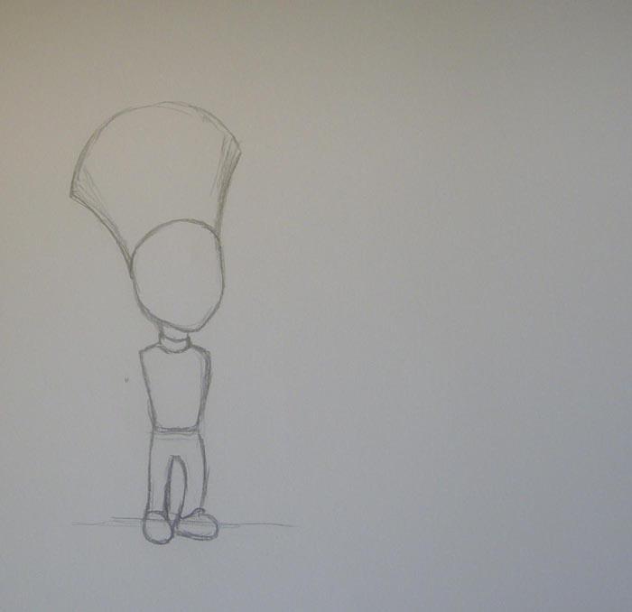 Нарисуйте ноги, длина которых практически равна длине туловища